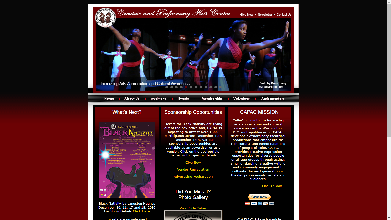 Creative and Performing Arts Center, Inc. Website